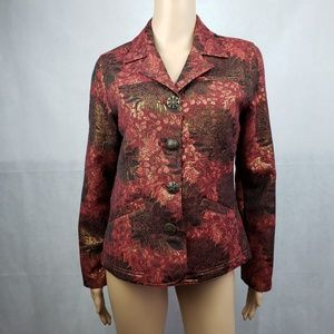 Chico's Red Gold Floral Button Down Blazer Size 0